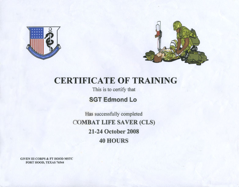 Awards and Certificates – Army Certificate of Training Template