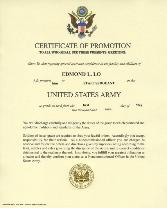 Promotion to sergeant quotes quotesgram for Officer promotion certificate template